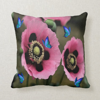 Beautiful Poppy Flowers and Butterflies Pillow