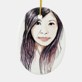 Beautiful Portrait of an Asian Woman Ceramic Oval Ornament