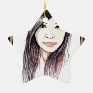 Beautiful Portrait of an Asian Woman Ceramic Star Ornament