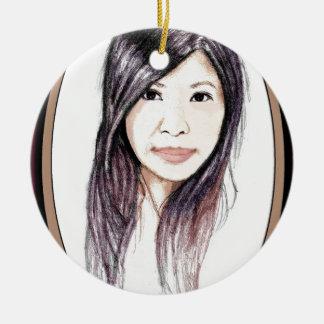 Beautiful Portrait of an Asian Woman Round Ceramic Ornament