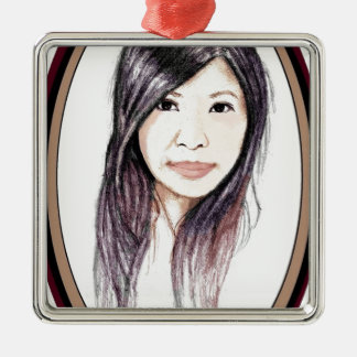Beautiful Portrait of an Asian Woman Silver-Colored Square Ornament