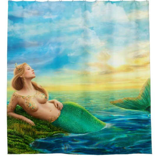Beautiful princess- fantasy mermaid at sunset