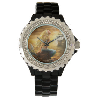 Beautiful princess- fantasy mermaid at sunset back wristwatch