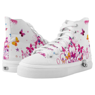 Beautiful Princess Girly colorful Butterfly High Tops
