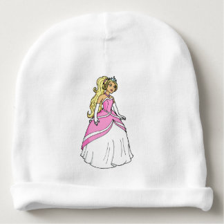 Beautiful Princess in Pink Dress Artwork Picture Baby Beanie