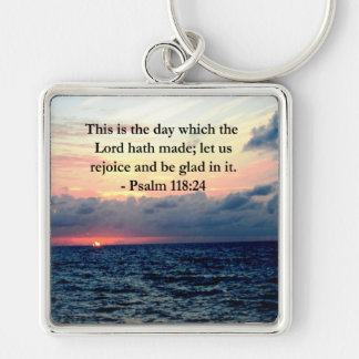 BEAUTIFUL PSALM 118:24 SUNRISE OVER THE OCEAN Silver-Colored SQUARE KEYCHAIN