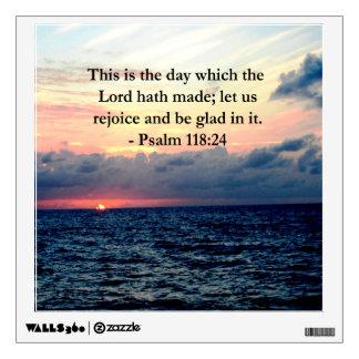 BEAUTIFUL PSALM 118:24 SUNRISE OVER THE OCEAN WALL STICKER