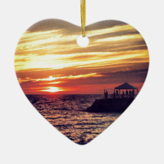 Beautiful Puerto Vallarta Sunset Ceramic Heart Ornament