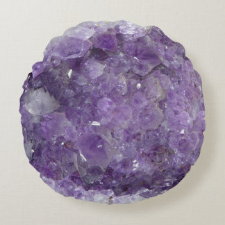 Beautiful Purple Amethyst Healing Crystals Round Pillow