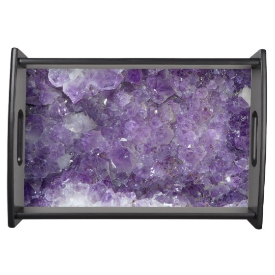 Wood cheese board with artwork and amethyst stones