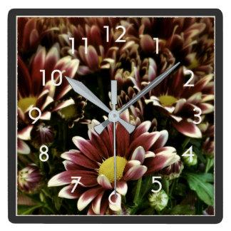 Beautiful Purple and White Flowers Wall Clock