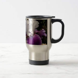 Beautiful Purple and White Iris Design 15 Oz Stainless Steel Travel Mug