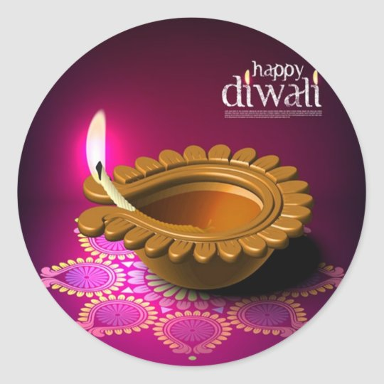 Beautiful Purple Background Diwali Lamp Classic Round Sticker
