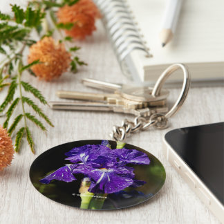 Beautiful Purple Bearded Iris in the Afternoon Sun Basic Round Button Keychain