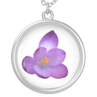 Beautiful Purple Crocus Floral Necklace