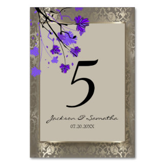 Beautiful Purple Floral & Antique Silver Damask Card