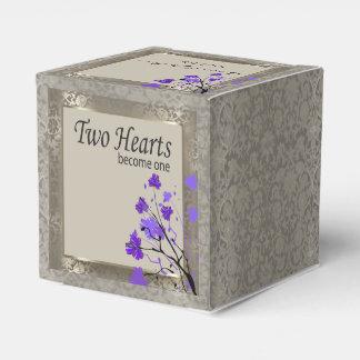 Beautiful Purple Floral & Antique Silver Damask Favor Box