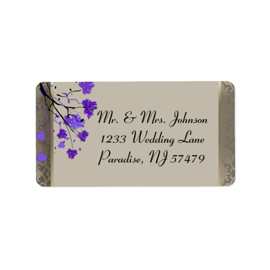 Beautiful Purple Floral & Antique Silver Damask Label