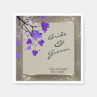 Beautiful Purple Floral & Antique Silver Damask Napkin