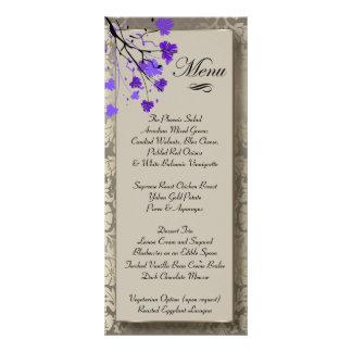 Beautiful Purple Floral & Antique Silver Damask Rack Card