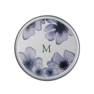 Beautiful Purple Floral Watercolor With Monogram Speaker
