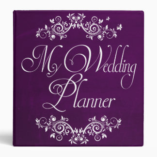 Beautiful Purple Flourish Wedding Photo Album Vinyl Binder