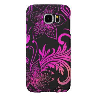 Beautiful purple flowers vector and swirl art samsung galaxy s6 cases