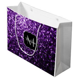 Beautiful Purple glitter sparkles Monogram Large Gift Bag