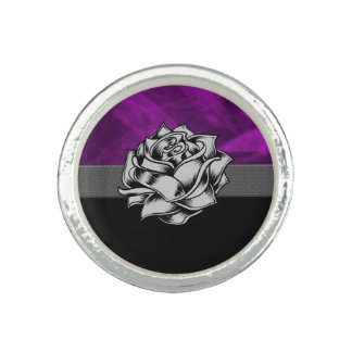 Beautiful Purple Grunge Rose Photo Rings