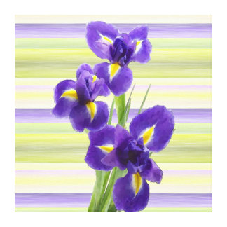 Beautiful Purple Iris Watercolor Stripes Pattern Canvas Print