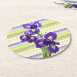 Beautiful Purple Iris Watercolor Stripes Pattern Round Paper Coaster