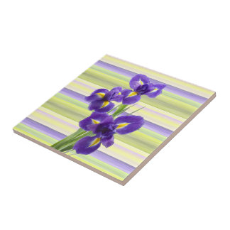 Beautiful Purple Iris Watercolor Stripes Pattern Tile