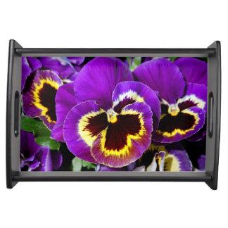 Beautiful purple pansy flower serving tray
