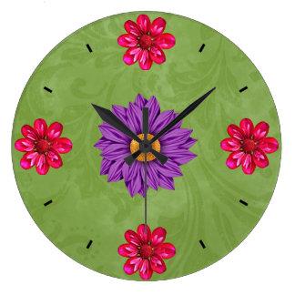 Beautiful Purple, Pink and Green Flower Clock
