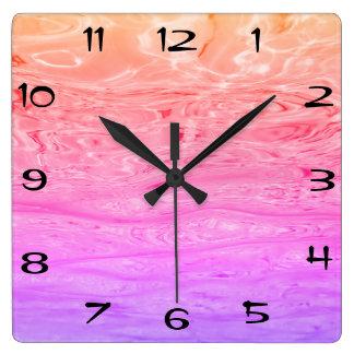 Beautiful Purple Pink Ocean Waves Fantasy Pattern Square Wall Clock
