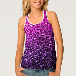 Beautiful Purple Pink Ombre glitter sparkles Tank Top