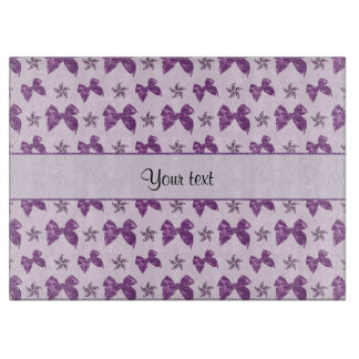 Beautiful Purple Satin Bows Cutting Board