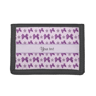 Beautiful Purple Satin Bows Trifold Wallets