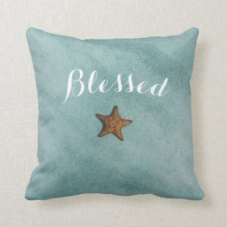 beautiful quote blessed artsy ocean starfish sea throw pillow