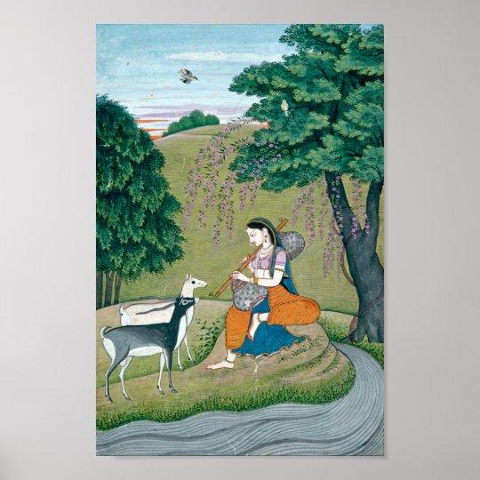 Beautiful Ragini Todi Painting Poster