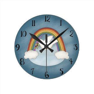 Beautiful Rainbow and Dove Wall Clock