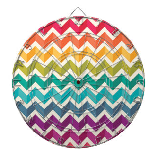 Beautiful Rainbow Chevron Dartboard