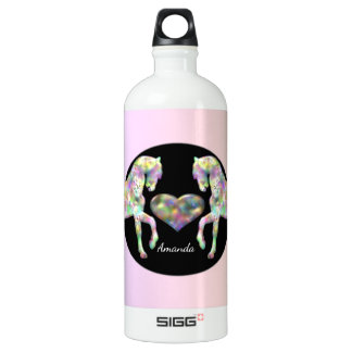 Beautiful Rainbow Horses and Heart Water Bottle