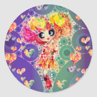 Beautiful Rainbow KAWAII Girl PinkyP Harajuku Classic Round Sticker