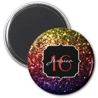 Beautiful Rainbow sparkles Sweet 16 Magnet