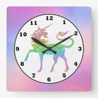Beautiful rainbow unicorn girls room decor clock