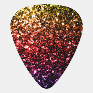 Beautiful Rainbow yellow red purple sparkles Guitar Pick