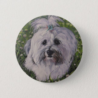Beautiful Realistic Havanese Dog Art Painting 2 Inch Round Button
