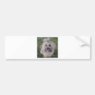 Beautiful Realistic Havanese Dog Art Painting Bumper Sticker