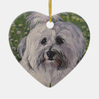 Beautiful Realistic Havanese Dog Art Painting Ceramic Ornament